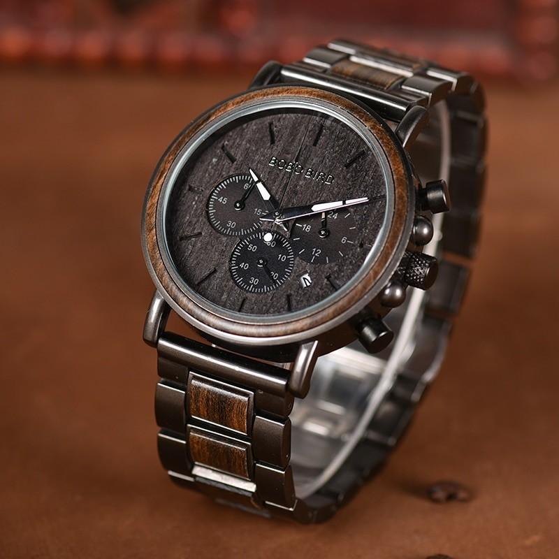 Kovovo drevené náramkové hodinky BBD H06