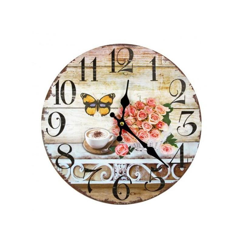 Nástenné hodiny ruže, motýľ a káva 30cm