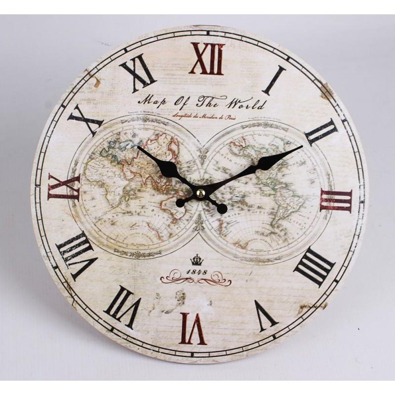 Nástenné hodiny historická mapa sveta 29cm