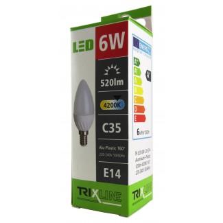 LED žiarovka 6W E14 TRIXLINE C35 Alu Plastic studená biela