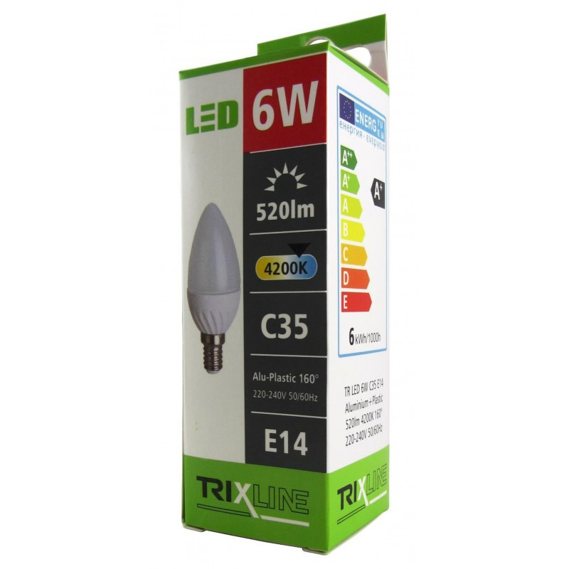 LED žiarovka TRIXLINE C35 Alu Plastic studená biela